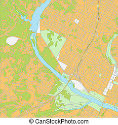 City Map - Vector illustration of West Austin city map All...