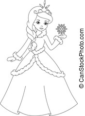 Winter princess coloring page - Beautiful Winter Princess...