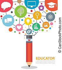 educator - Open creative pencil with icons of education....