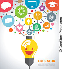 Educator - Open creative light bulb with icons of education....