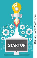Startup - Art launch light bulb Creative and startup...
