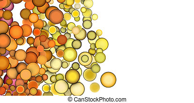3d render strings of floating balls in multiple orange yellow