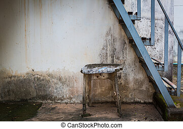 Metal fire escape old table