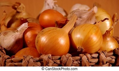 Onions and garlic are spinning on board