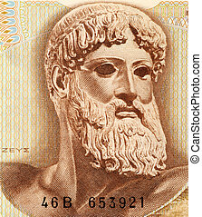 Zeus - God Zeus on 1000 Drachmai 1970 Banknote from Greece...