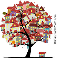 City sketch, art tree concept for your design. Vector...