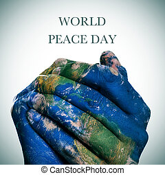 world peace day Earth map furnished by NASA - the sentence...