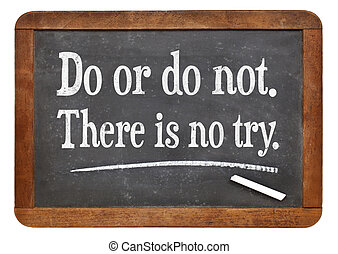 Do or do not. There is no try. A quote from Yoda character...
