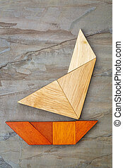 abstract yacht from tangram puzzle - abstract picture of a...