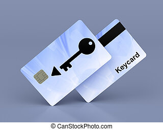 Keycards on shiny blue background, 3d illustration