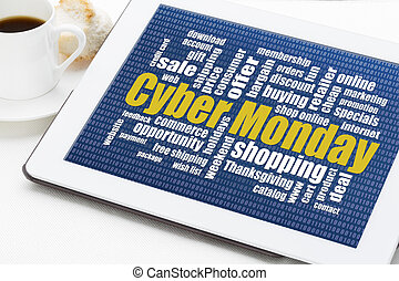 Cyber Monday shopping - Cyber Monday word cloud on a digital...