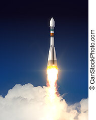 Carrier Rocket Soyuz-Fregat Takes Off 3D Scene
