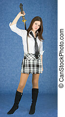 Young woman with katana on blue background - The beautiful...