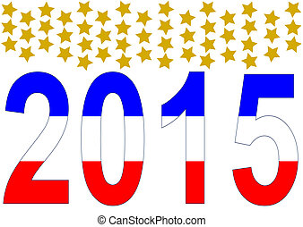 2015 in American colors with 50 golden stars above