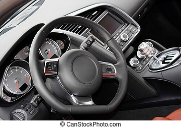 Modern Sports Car Interior - The interior of a modern luxury...