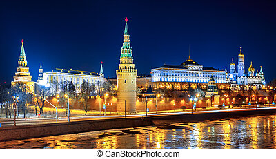 Moscow Kremlin. Russia - Moscow Kremlin in fires by cold...