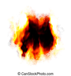 Fiery Hole Layout - A fiery background with a hole burnt in...