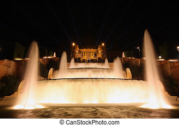night view of Magic Fountain light show in Barcelona, Spain...