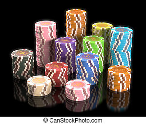 Gambling Chips - Colorful chips on black background. Concept...