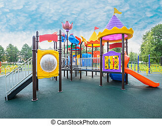 playground - swing carousel in the park for children