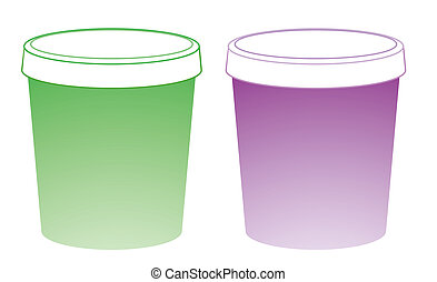 plastic cups - two color plastic cups on a white background...