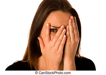 Frightened woman - preety girl gesturing fear isolated