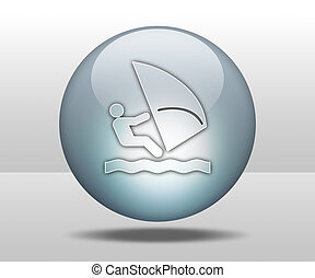 Icon, Button, Pictogram Windsurfing - Icon, Button,...