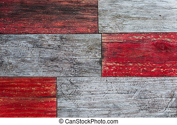 red and grey grungy wood planks