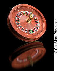 Roulette Wheel - Roulette casino on black reflective...