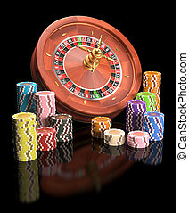 Roulette Wheel Chips - Concept of casino and gambling....