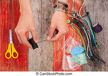 making bead bracelets - making colourful bead bracelets
