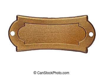 vintage brass name plate over white, clipping path, space...