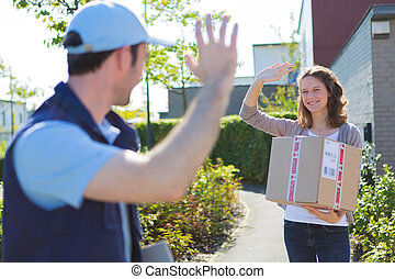 Delivery man succeed during his delivery - View of a...