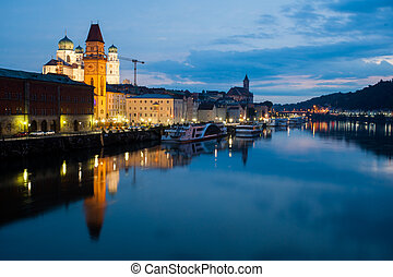 Night view of Passau, Germany