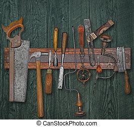 pared, vendimia, carpintería, herramientas