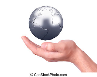 holding a earth globe in his hands