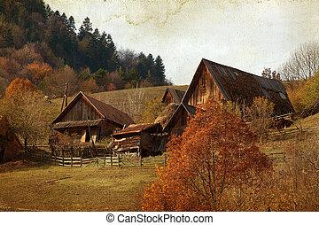 Autumn rural landscape - Vintage photo of autumn rural...