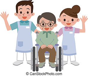 Caregivers and senior man - Vector illustration.