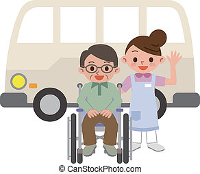 Women caregivers and senior man - Vector illustration