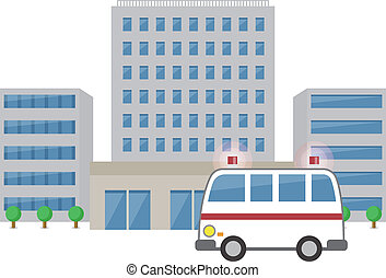 Ambulance and hospital  - Vector illustration.