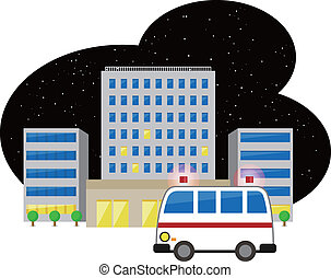 Ambulance and hospital - Vector illustration