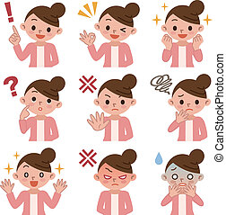 Set of women in various poses - Vector illustration