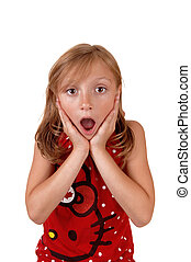 Surprised young girl. - A lovely young girl in a red sweater...