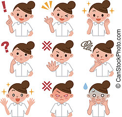 Set of young nurse  - Vector illustration.