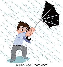 Umbrella of the men was broken in g - Vector illustration.
