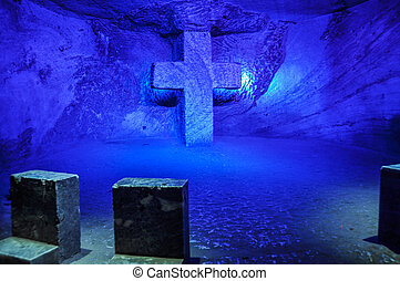 Praying spot in Zipaquira's Salt Cathedral, Colombia.