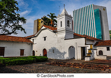 Anachronism, old versus new in Cali, Colombia.