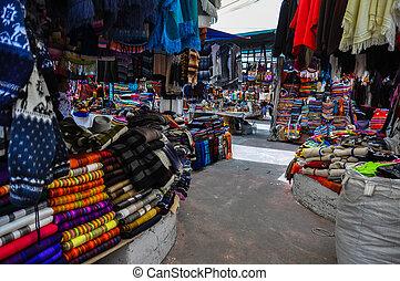 Colorful Sunday market in Otavalo, Ecuador.