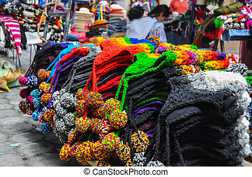 Colorful Sunday market in Otavalo, Ecuador.