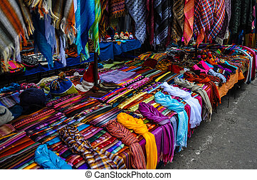 Colorful Sunday market in Otavalo, Ecuador